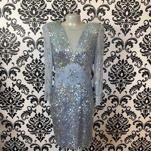 Blue silk sequins dress vintage size 10